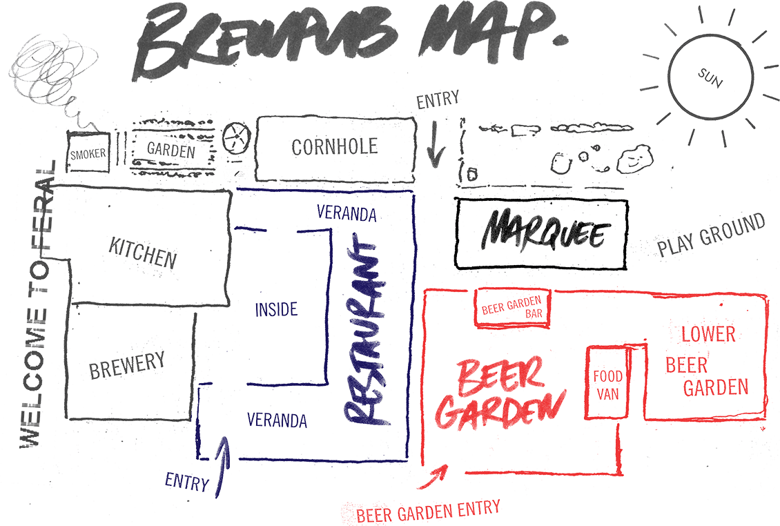 Map of the Feral Brewpub and Restaurant